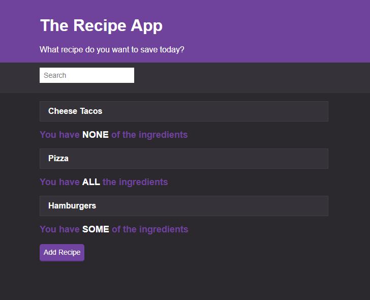 recipe app javascript project
