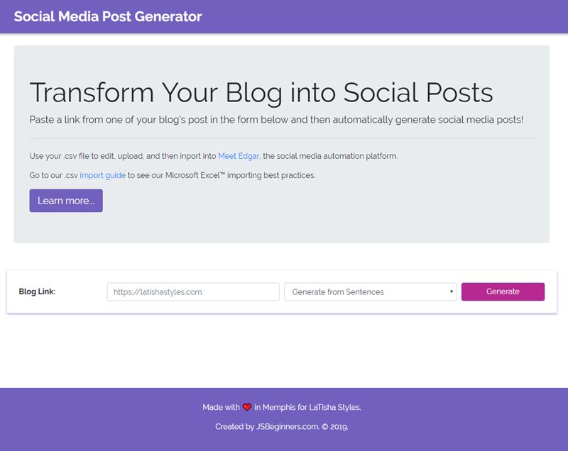 Social Media Post Generator Project (Express, EJS, Node