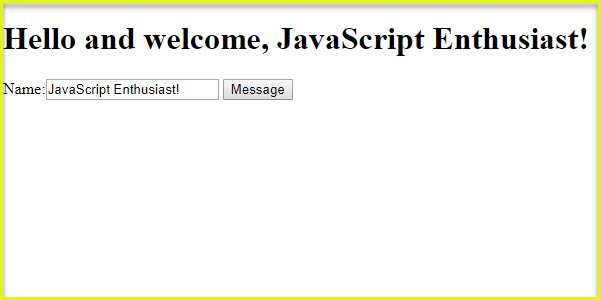 JavaScript Welcome Message Project