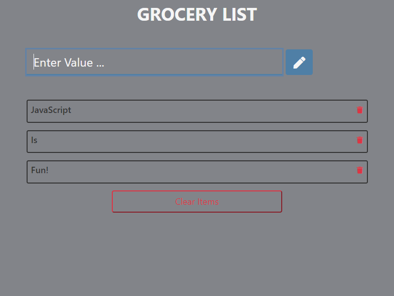 Grocery List JavaScript Project