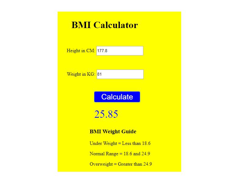 javascript bmi calculator project