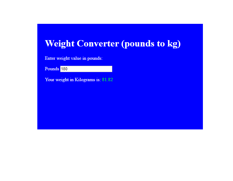 javascript pound to kilogram calculator