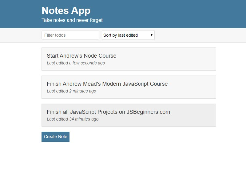 JavaScript Notes App Project