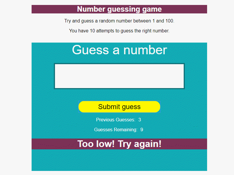 JavaScript Number Guessing Game