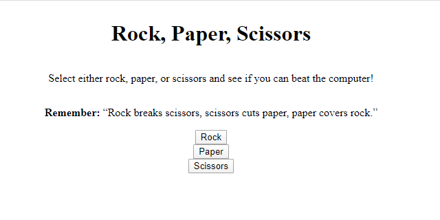 rock paper scissors javascript game